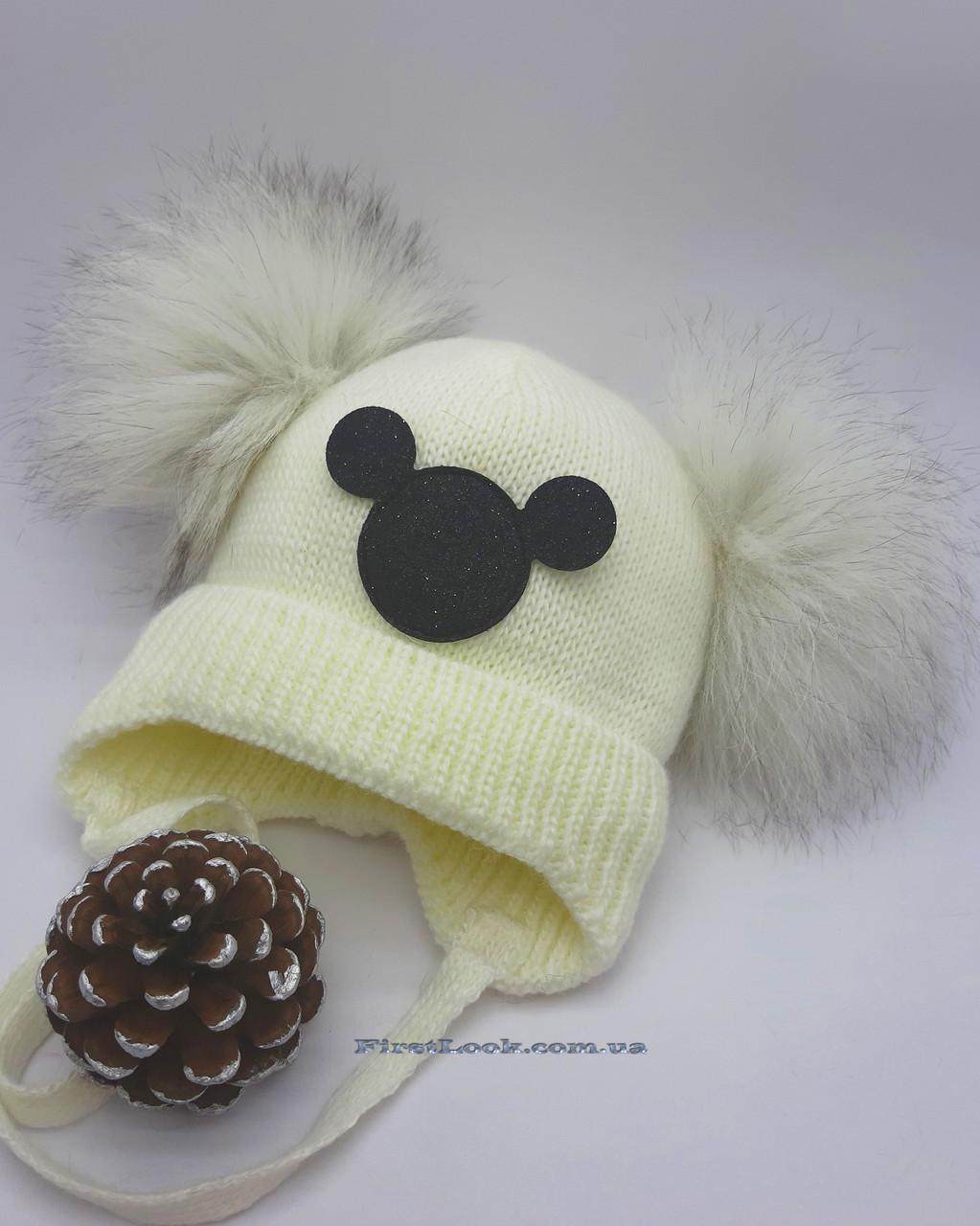Зимняя детская шапка  Кроха( 0-12 мес.),натуральный помпон.Полушерсть.