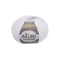 Пряжа Alize Lanacoton 55 белый ( нитки для вязания Ализе Ланакотон, Ализе Лана Коттон)
