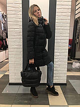 Куртка до колена с лаком черная 708, фото 3