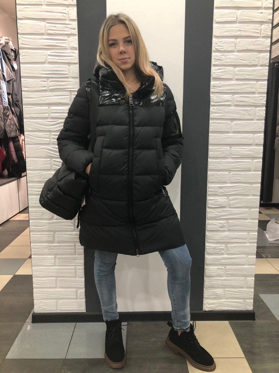 Куртка до колена с лаком черная 708