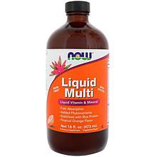 """Рідкі вітаміни і мінерали NOW Foods """"Liquid Multi"""" зі смаком тропічного апельсина (473 мл)"""