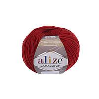 Пряжа Alize Lanacoton 56 красный ( нитки для вязания Ализе Ланакотон, Ализе Лана Коттон)