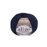 Пряжа Alize Lanacoton 58 темно-синий ( нитки для вязания Ализе Ланакотон, Ализе Лана Коттон)