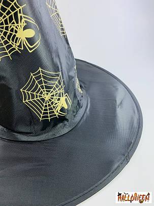 Колпак ведьмы с белыми/золотыми пауками, фото 2