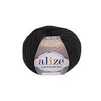 Пряжа Alize Lanacoton 60 черный ( нитки для вязания Ализе Ланакотон, Ализе Лана Коттон)