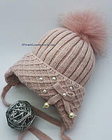Детская зимняя вязаная шапка на девочку, фото 1