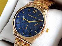 Женские кварцевые наручные часы копия Michael Kors (Майкл Корс) металл, золото, синий циферблат CW270