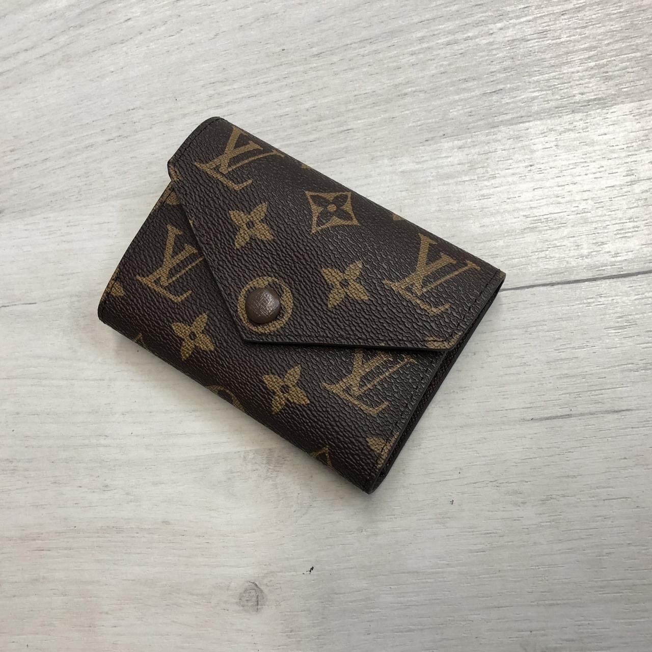 Міні гаманець репліка Louis Vuitton Monogram на кнопці   lv монограм   Луї Вітон арт.0823 Кавовий