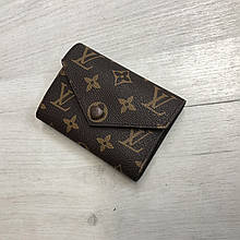Мини кошелек реплика Louis Vuitton Monogram на кнопке   lv монограм   Луи Витон арт.0823 Кофейный