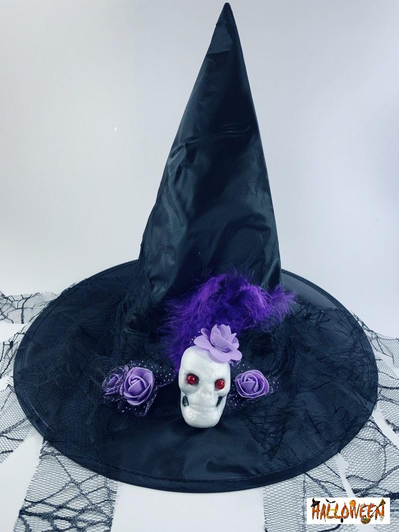 Колпак ведьмы с черепом и фиолетовыми/красными розами