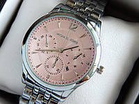 Женские кварцевые наручные часы Michael Kors (Майкл Корс) металл, серебро, розовый циферблат CW272