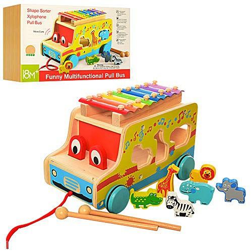 Дерев'яна іграшка Розвиваючий Центр MD1084 машинка, каталка, ксилофон, палички, сортер, в коробці 28.5*18.5*18