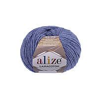 Пряжа Alize Lanacoton 374 голубой меланж (нитки для вязания Ализе Ланакотон, Ализе Лана Коттон)
