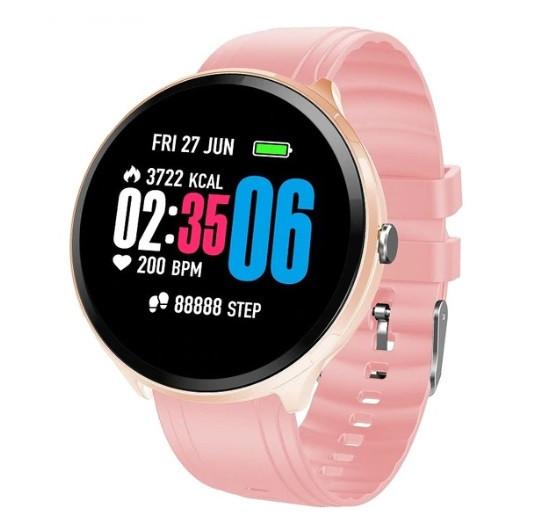 Фитнес браслет с измерением пульса и давления Smart band V12 Pink