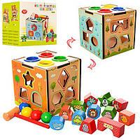 Дерев'яна іграшка Розвиваючий Центр куб, ксилофон, лабіринт, сортер, молоток, стукалка, в коробці 15*15*14см