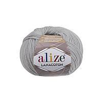 Пряжа Alize Lanacoton 420 облачно-серый (нитки для вязания Ализе Ланакотон, Ализе Лана Коттон)