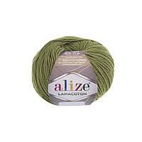 Пряжа Alize Lanacoton 485 зеленый (нитки для вязания Ализе Ланакотон, Ализе Лана Коттон)