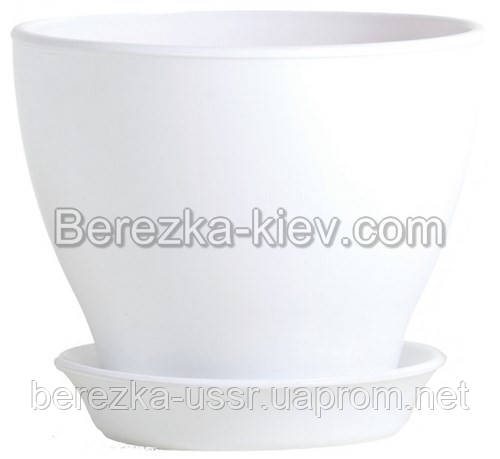 Горшок керамический глянец белый (диаметр 39,5 см.)