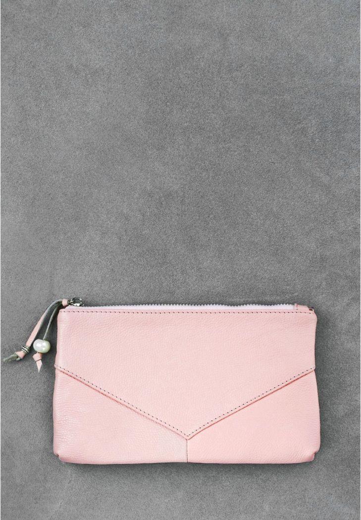 Женская косметичка из натуральной кожи на молнии. Цвет розовый