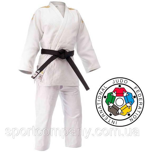 Кимоно для дзюдо Adidas Champion 2 с аккредитацией IJF с золотыми полосами (J-IJF-SMU, белое с золотом)