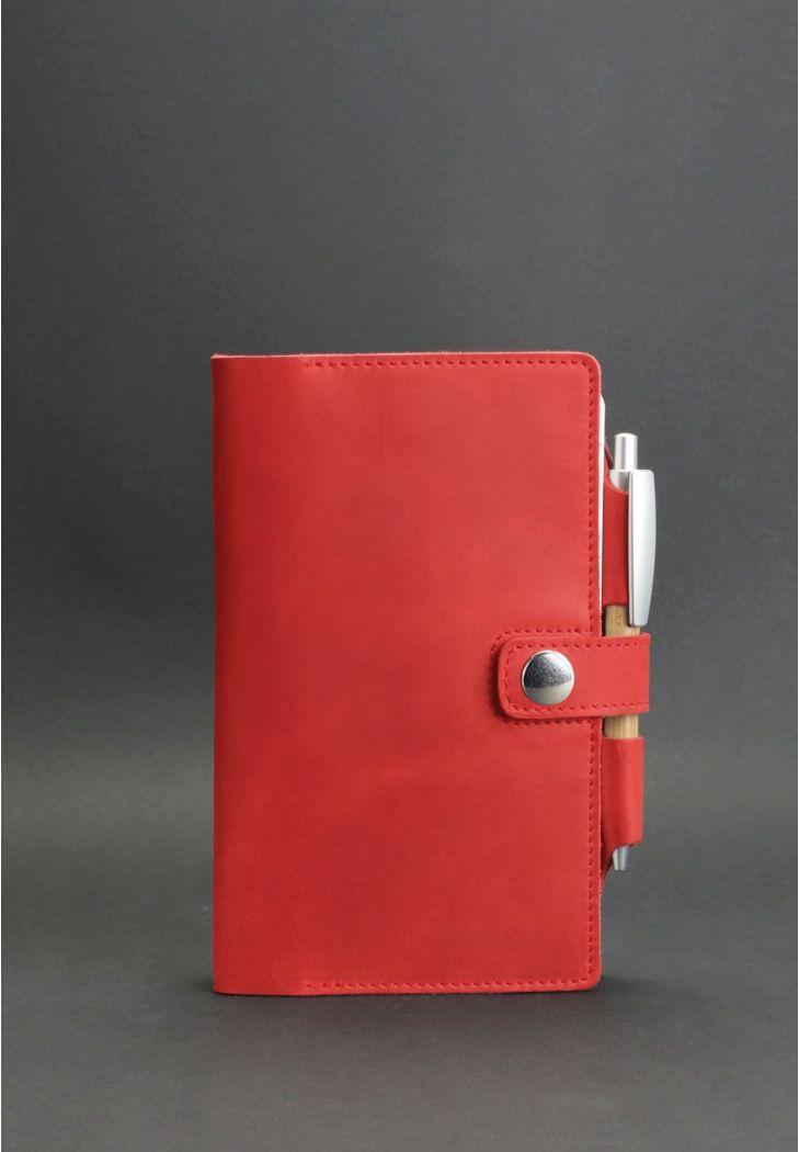 Женский кожаный блокнот (софт-бук). Красный.