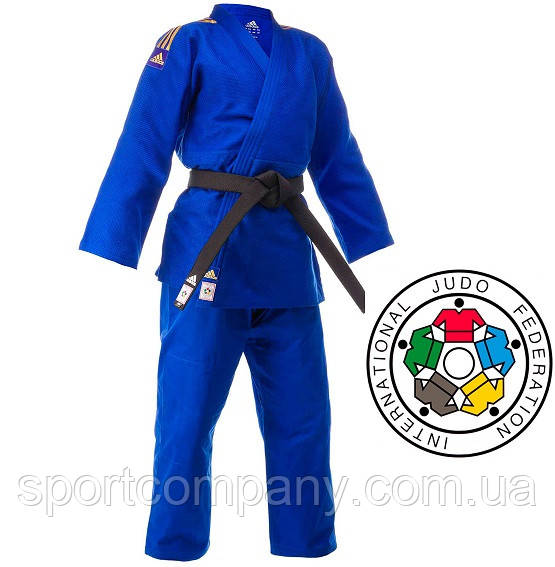 Кимоно для дзюдо Adidas Champion 2 с аккредитацией IJF с золотыми полосами (J-IJF-SMU, синее с золотом)