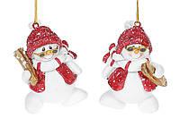 Фигурка подвесная Снеговики-лыжники, 6,5см, 2 вида