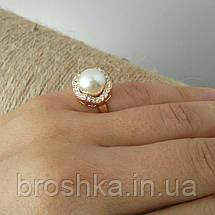 Позолоченное кольцо ювелирная бижутерия с белым жемчугом, фото 3