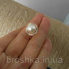 Позолоченное кольцо ювелирная бижутерия с белым жемчугом, фото 2