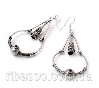 9080205 Серьги кольцо + треугольник с конусом метал
