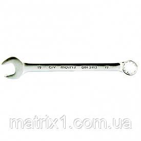Ключ комбинированный 19 мм, CrV, матовый хром. MTX
