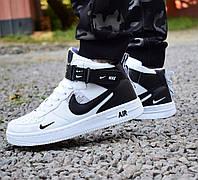 Кроссовки 40,41 размеры  Nike Air Force высокие белые с черным  мужские 0133, фото 1