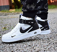 Кроссовки Nike Air Force высокие белые с черным  мужские 0133, фото 1