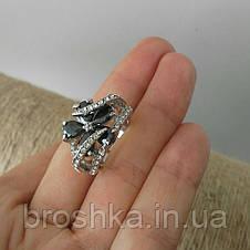 Кольцо ювелирная бижутерия с черными фианитами, фото 3