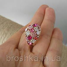 Позолоченное кольцо ювелирная бижутерия с розовыми камнями, фото 3