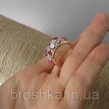 Позолоченное кольцо ювелирная бижутерия с розовыми камнями, фото 2