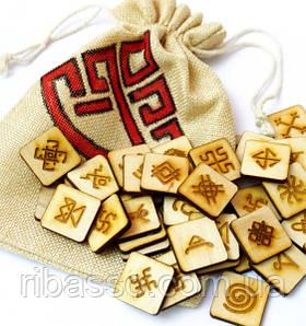 9160247 Набор деревянных рун для гадания с аннотацией Славянские руны