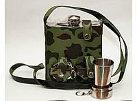 F1-73 Фляга 540 мл в чехле + 2 складных стакана, Фляга походная, Фляга 0.5 литра, Мужская фляга подарочная