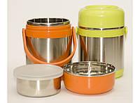 T94 Термос для еды 1,5 л + судочек, Термобокс для пищи, Термос для еды, Походный ланч бокс из нержавейки