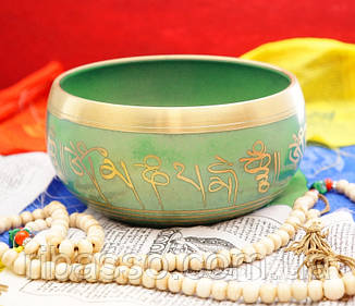 9070023 Чаша поющая литая пр-во Непал Салатовая