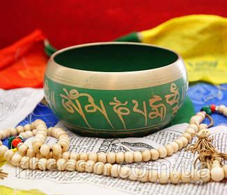 9070022 Чаша поющая литая пр-во Непал Зелёная
