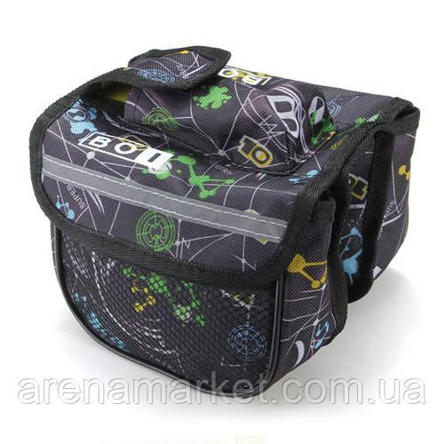 Велосипедная сумка BoI на раму, 3-ри секции - черная с абстракцией