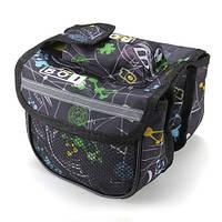 Велосипедная сумка BoI на раму, 3-ри секции - черная с абстракцией, фото 1