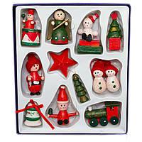 Набор новогодних игрушек - деревянные фигурки, 11 шт, 17*19 см, разноцветный, дерево (060160)