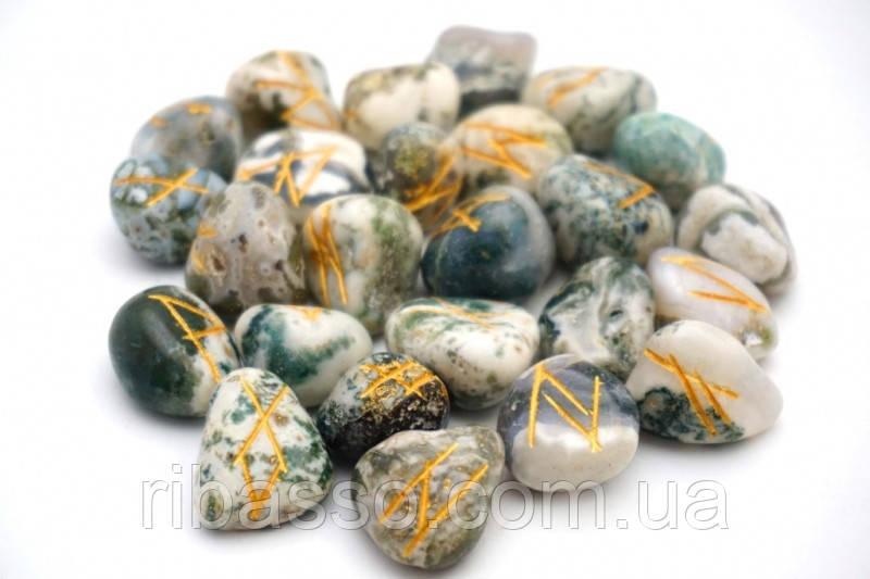 9170006 Набор РУН для гадания из натуральных камней Древесный Агат