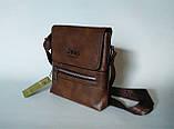 Мужская сумка через плечо Jeep Коричневая 21см х 19см Кожа PU 558 brown Vsem, фото 2