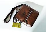 Мужская сумка через плечо Jeep Коричневая 21см х 19см Кожа PU 558 brown Vsem, фото 6