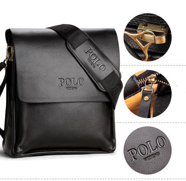 Качественная мужская сумка через плечо Polo Videng, поло. Черная. 24x21x7 Vsem