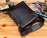 Качественная мужская сумка через плечо Polo Videng, поло. Черная. 24x21x7 Vsem, фото 7