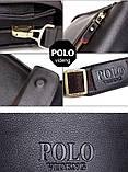 Качественная мужская сумка через плечо Polo Videng, поло. Черная. 24x21x7 Vsem, фото 10